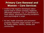 primary care renewal and women core services27