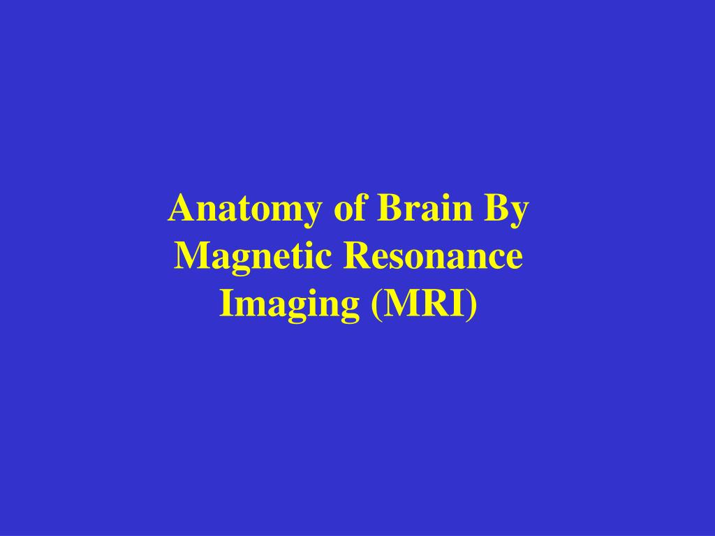 Ppt Anatomy Of Brain By Magnetic Resonance Imaging Mri