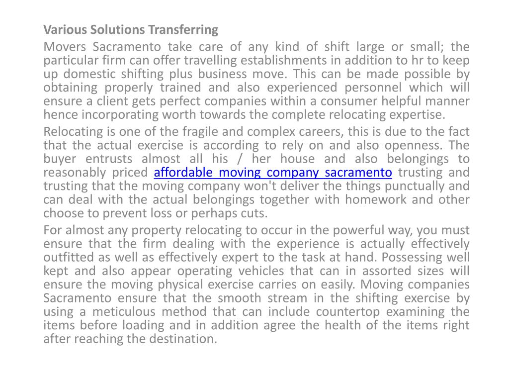 Various Solutions Transferring