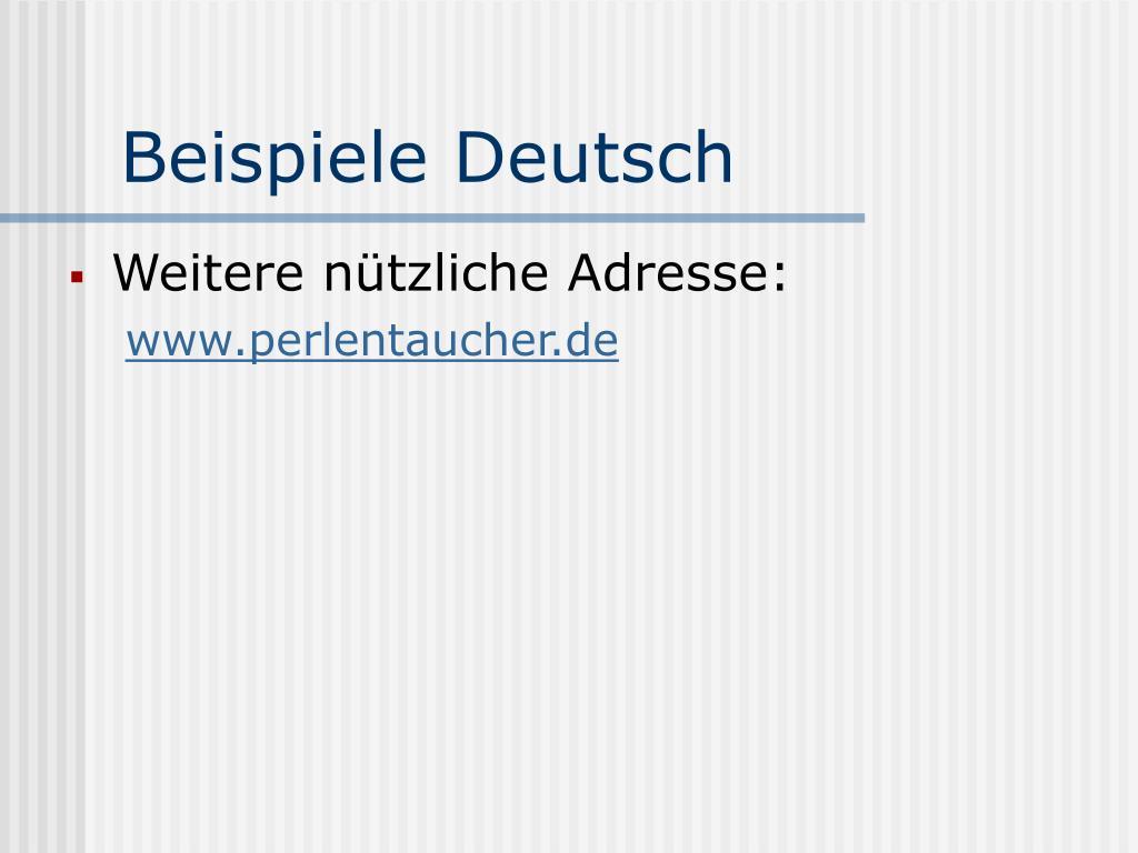 Beispiele Deutsch