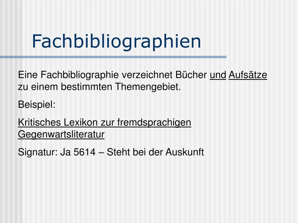 Fachbibliographien