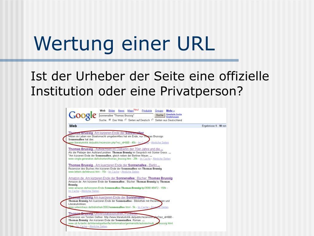 Wertung einer URL
