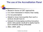 the use of the accreditation panel