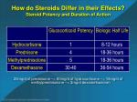 how do steroids differ in their effects steroid potency and duration of action