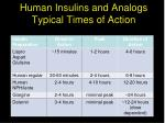 human insulins and analogs typical times of action
