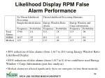 likelihood display rpm false alarm performance