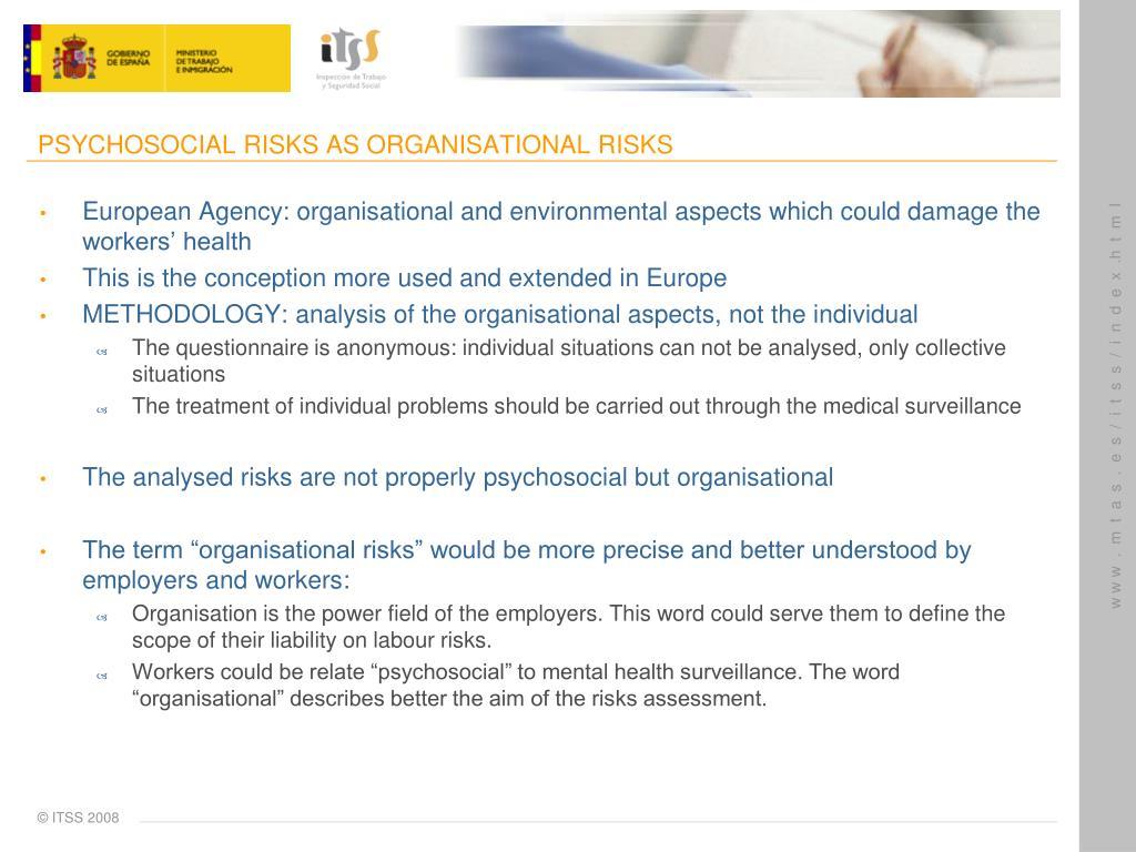 PSYCHOSOCIAL RISKS AS ORGANISATIONAL RISKS