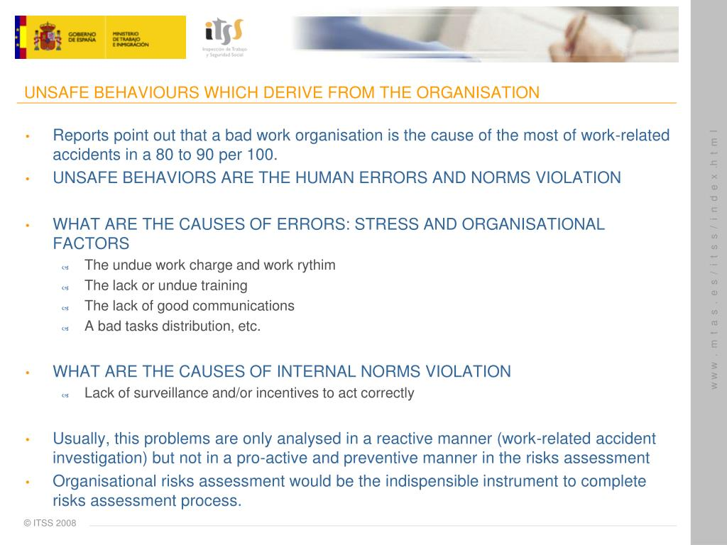 UNSAFE BEHAVIOURS WHICH DERIVE FROM THE ORGANISATION
