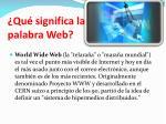 qu significa la palabra web