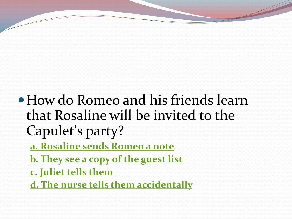 How do Romeo and his friends learn that Rosaline will be invited to the Capulet's party?