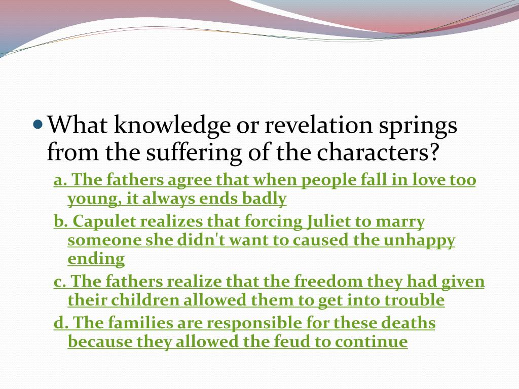 What knowledge or revelation springs from the suffering of the characters?