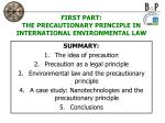 first part the precautionary principle in international environmental law
