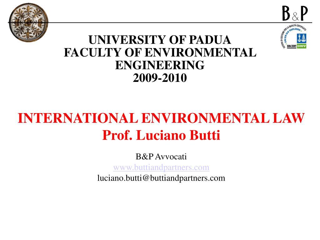 university of padua faculty of environmental engineering 2009 2010 l.