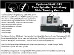cyclone 32 42 gts twin spindle twin gang slide turning center