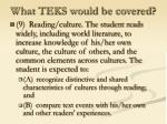 what teks would be covered14