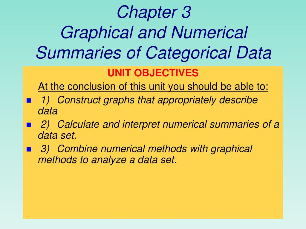 chapter 3 graphical and numerical summaries of categorical data