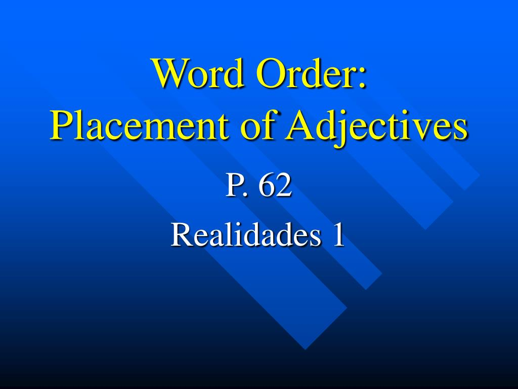 word order placement of adjectives l.