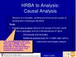 hrba to analysis causal analysis