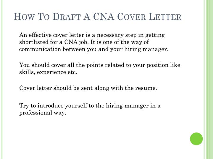 How to draft a cna cover letter