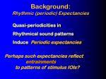 background rhythmic periodic expectancies