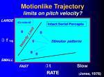 motionlike trajectory limits on pitch velocity
