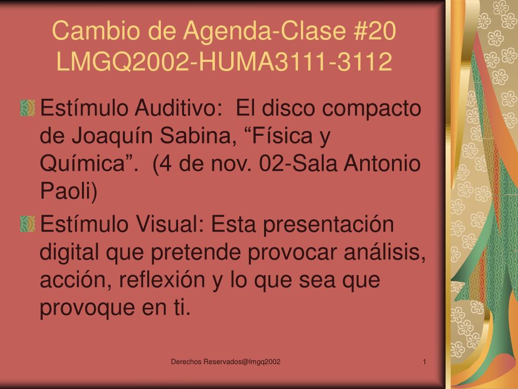 Cambio de Agenda-Clase #20