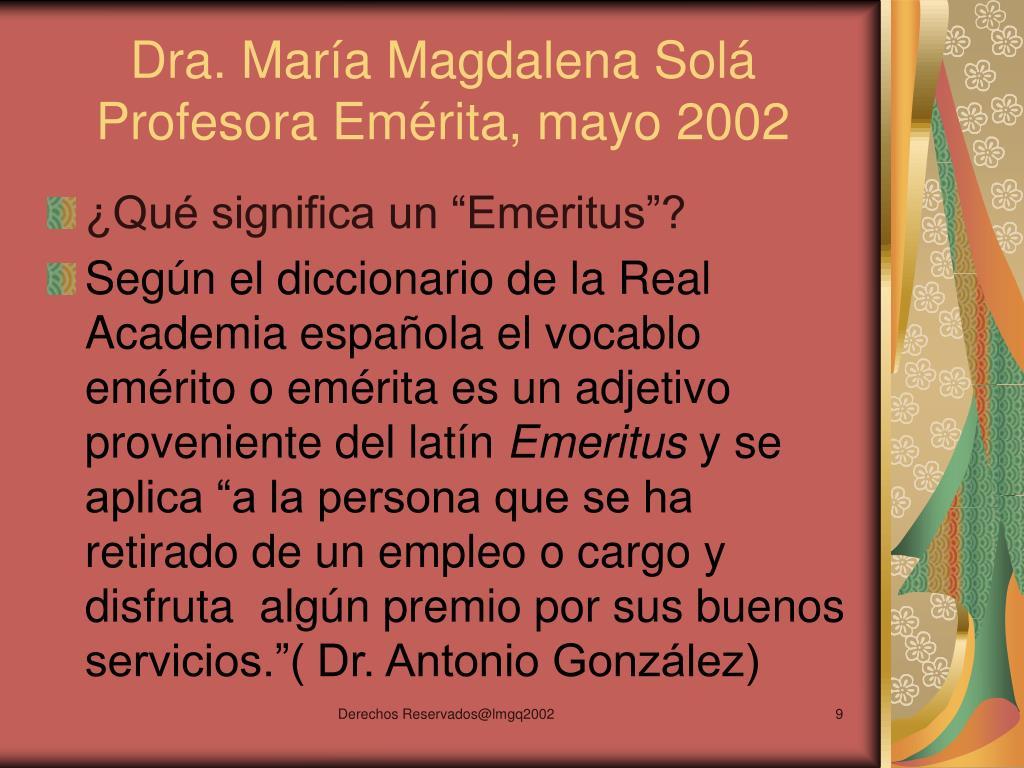 Dra. María Magdalena Solá