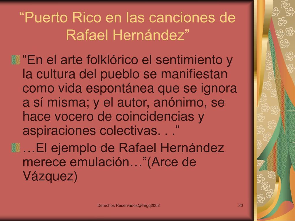 """""""Puerto Rico en las canciones de Rafael Hernández"""""""