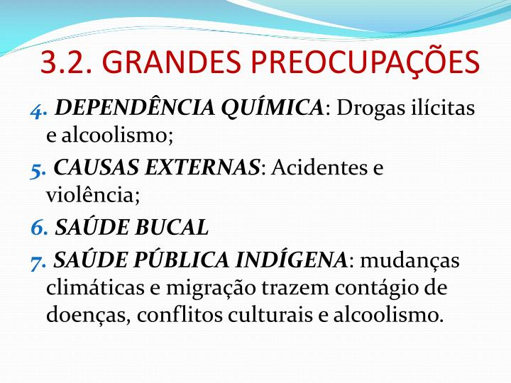 3.2. GRANDES PREOCUPAÇÕES