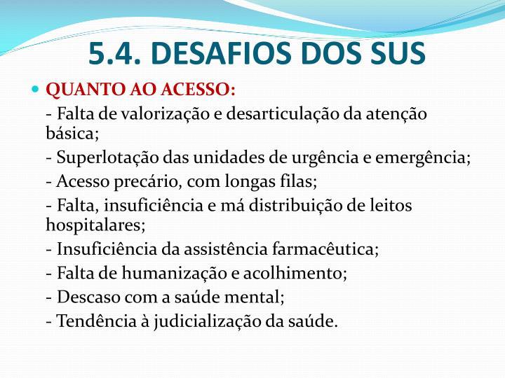 5.4. DESAFIOS DOS SUS
