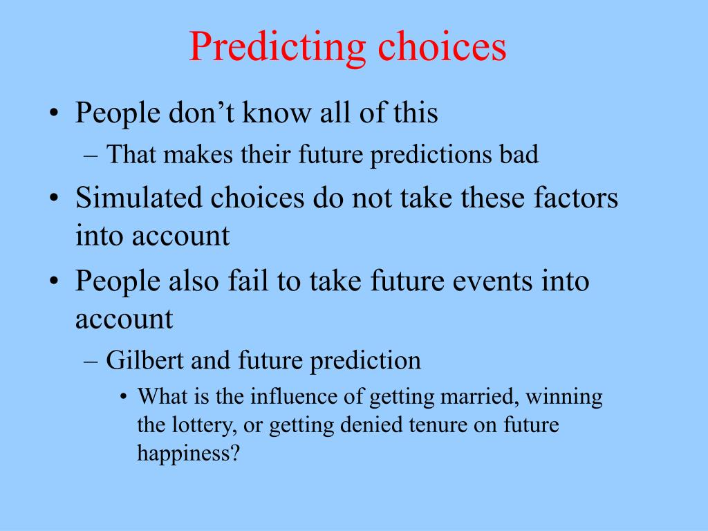 Predicting choices