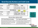 social security numbers and credit cards