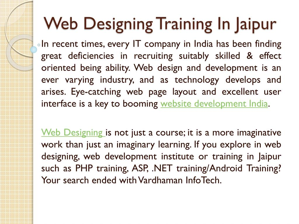 web designing training in jaipur l.