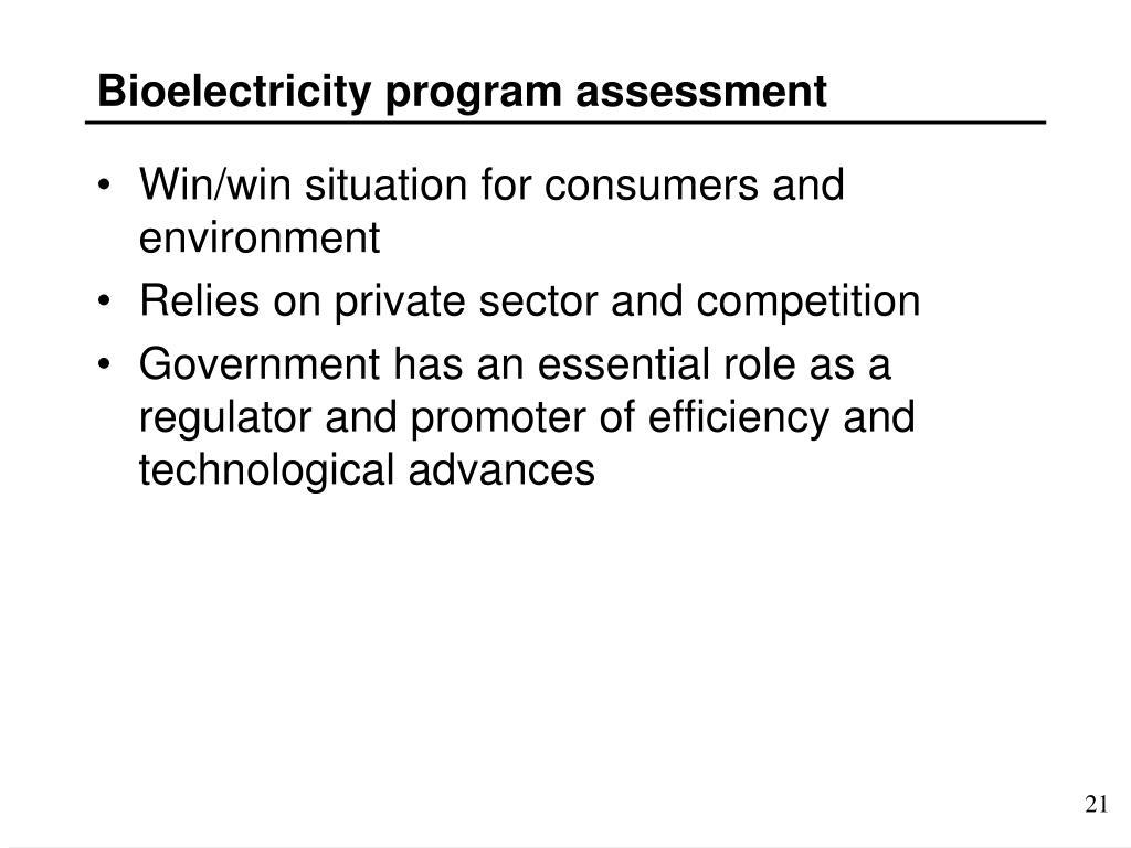 Bioelectricity program assessment