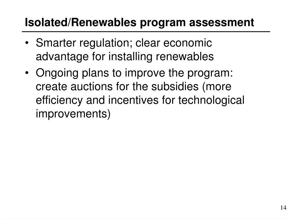 Isolated/Renewables program assessment