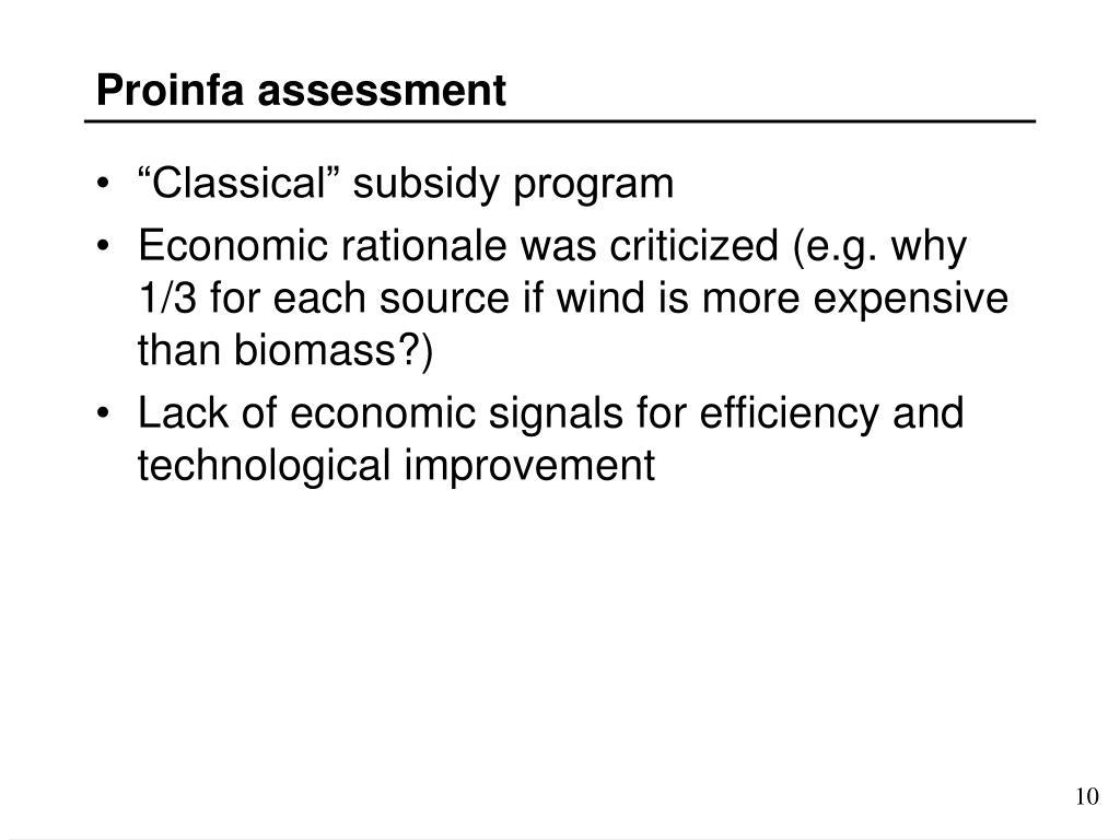 Proinfa assessment
