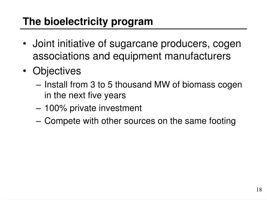The bioelectricity program