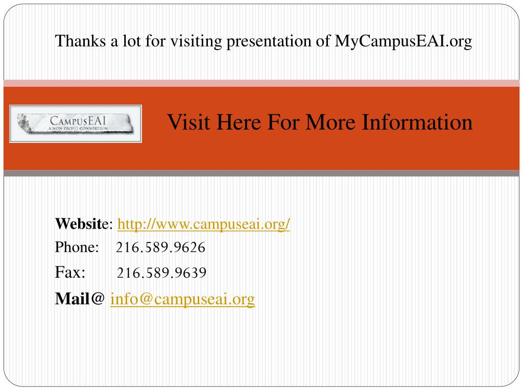 Thanks a lot for visiting presentation of MyCampusEAI.org