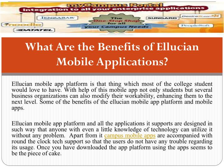 What are the benefits of ellucian mobile applications