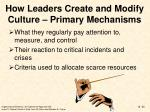 how leaders create and modify culture primary mechanisms