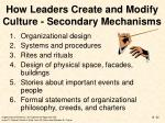how leaders create and modify culture secondary mechanisms