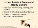 how leaders create and modify culture
