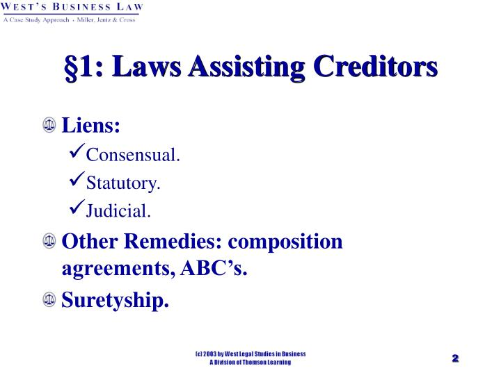 1 laws assisting creditors