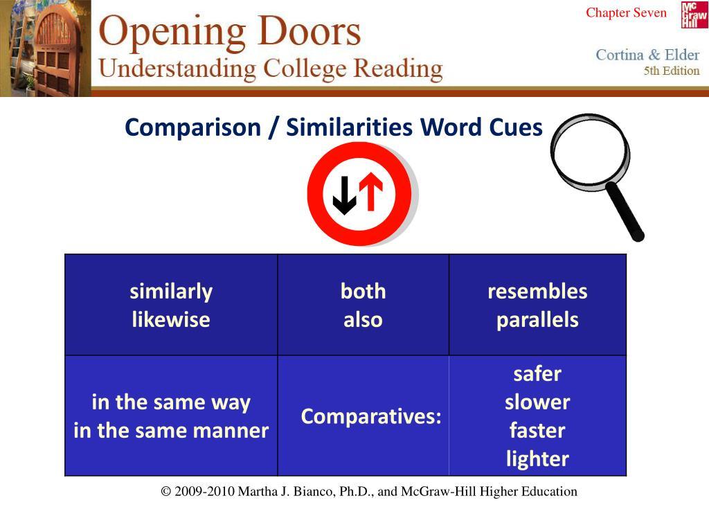 Comparison / Similarities Word Cues