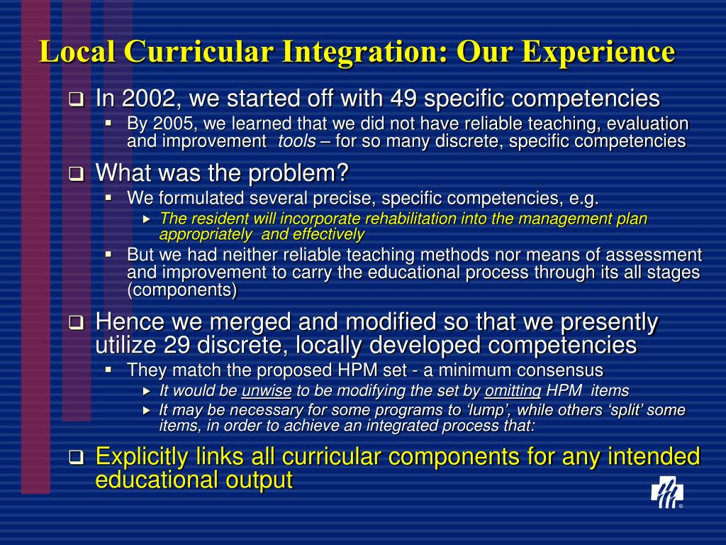 Local Curricular Integration: Our Experience
