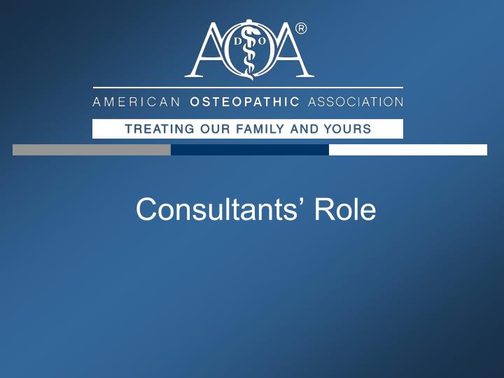 Consultants' Role