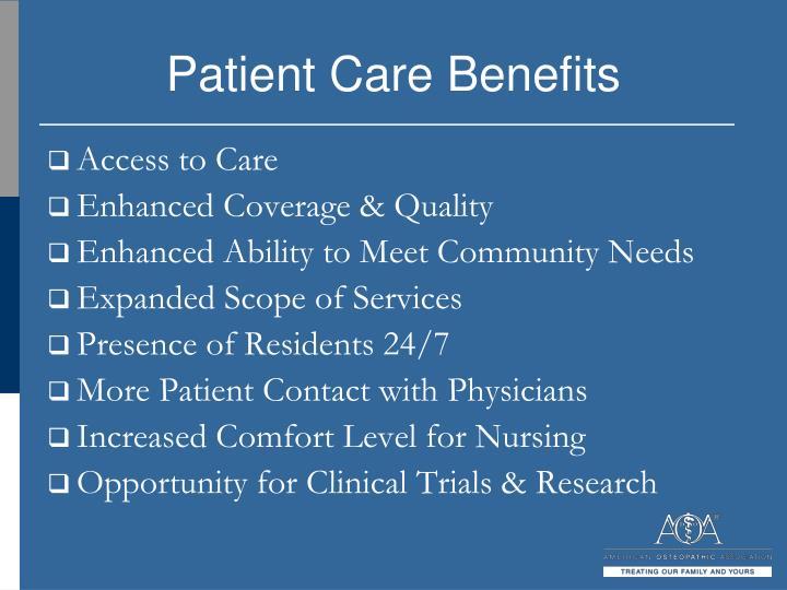 Patient Care Benefits