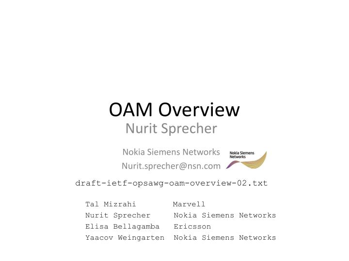Oam overview