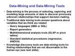 data mining and data mining tools