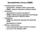 spreadsheets versus dbms